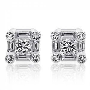 1.80 Carat Diamond Earrings 18K White Gold